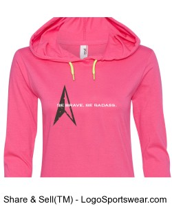 Ladies Lightweight Long Sleeve Hooded T-Shirt - Slim Fit Design Zoom